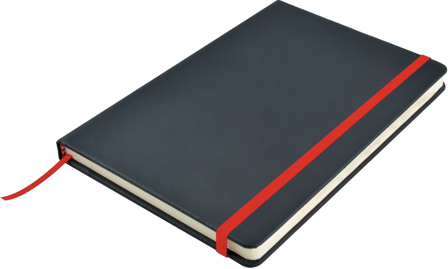 Black/Red Venture A5  PU Notebook with Elastic Closure