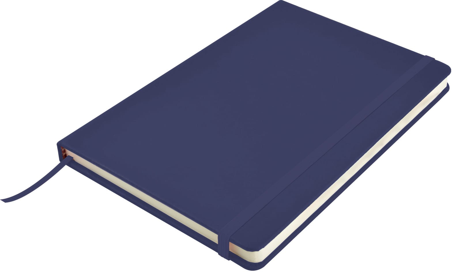 Dark Blue Venture A5  PU Notebook with Elastic Closure