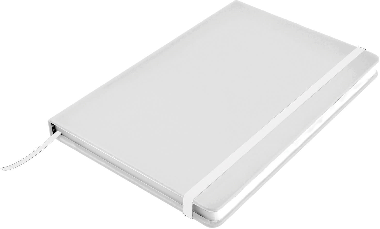 White Venture A5  PU Notebook with Elastic Closure