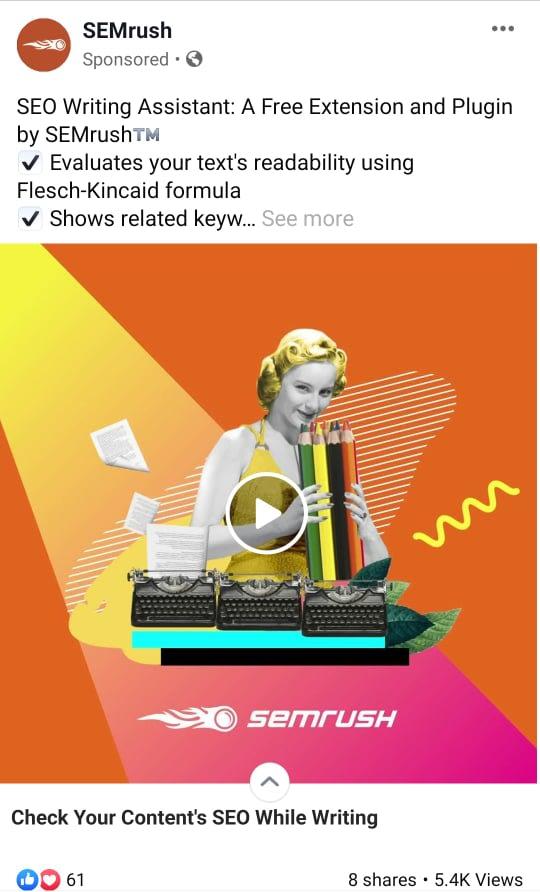 semrush facebook ad