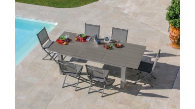 Table Extensible 180/240 x 100 cm Taupe - ELENA