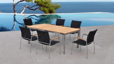 Table de jardin en bois de teck 6 places - MELBOURNE