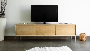 Meuble TV en chêne massif 2 tiroirs 1 porte rabattable - KUBICO