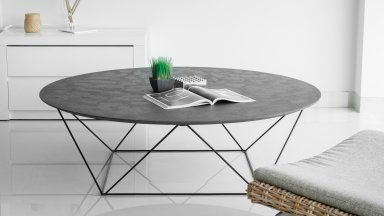 TABLE BASSE TRAPEZE - Table basse Trapèze avec plateau en revêtement minéral