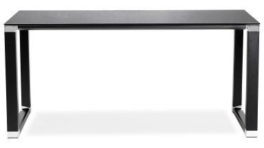 Bureau droit plateau 160 x 80 cm verre noir - Haumea