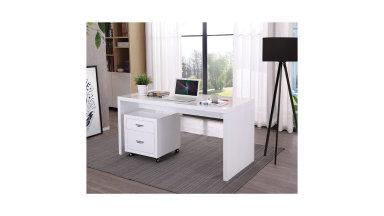 Bureau droit 150 x70 cm en bois laqué blanc - Milano