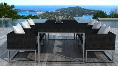 Table et chaise de jardin 6 places en résines tressée Noire - ANGEL