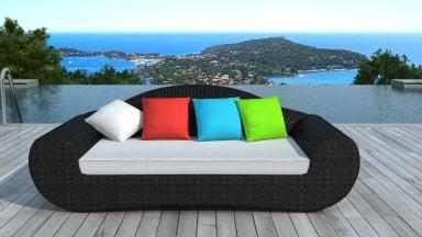 Canapé de jardin en résine tressée ronde Noire/Multi - BORNEO