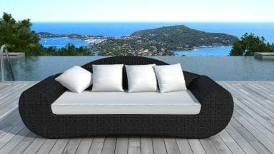Canapé de jardin en résine tressée ronde Noire/Ecru - BORNEO