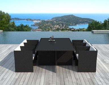 Salon de jardin encastrable 6 places en résine tressée Noire - SUMATRA