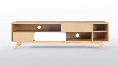 Meuble Tv chêne 3 tiroirs, 4 niches - HELIS