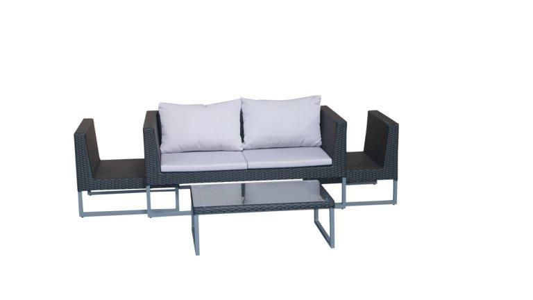 Salon de jardin Gris/Noir - CLEVER