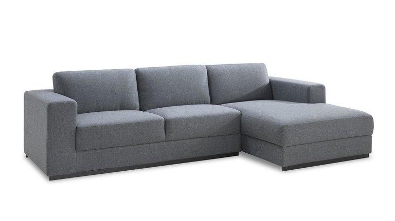 Canapé d'angle droit ou gauche en tissu Gris- ROAD