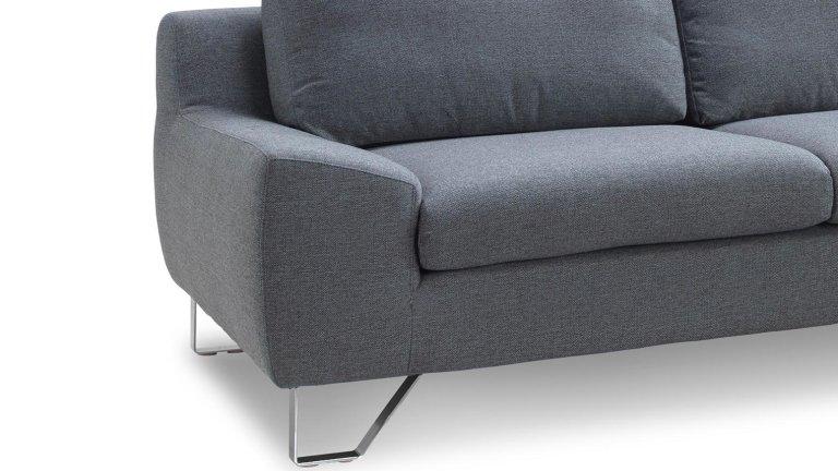 Salon canapé d'angle gris avec méridienne - KENT