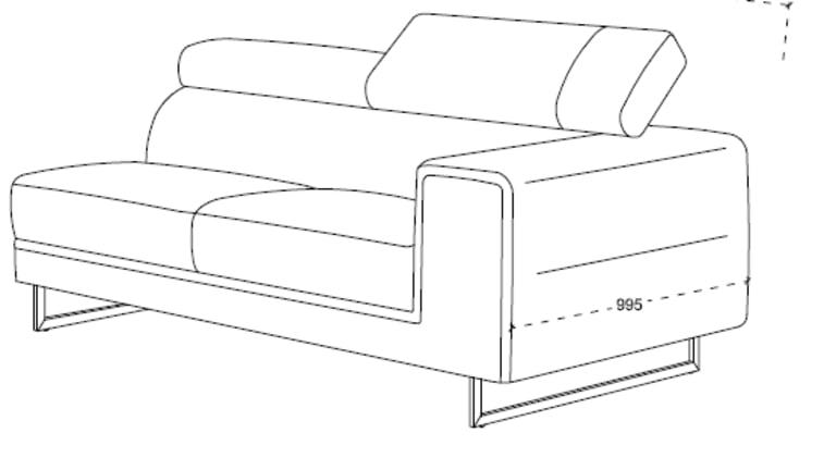 Canapé d'angle en tissu avec tétières - STREET GRIS NARBONNE