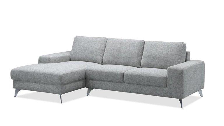 Canapé d'angle design en tissu gris clair 2m60 - WALK ELLEN SHALE