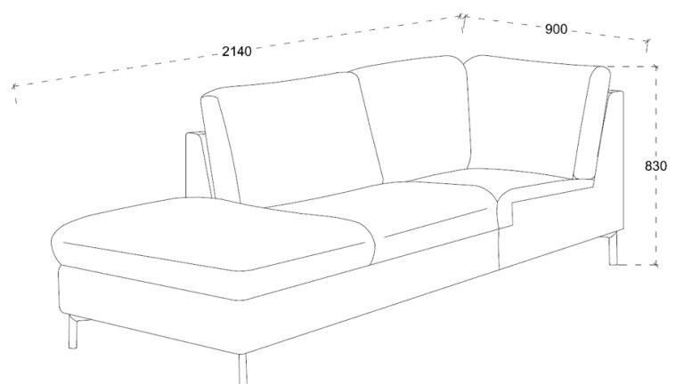 Canapé d'angle méridienne tissu gris chablis - AROUND GRIS CHABLIS