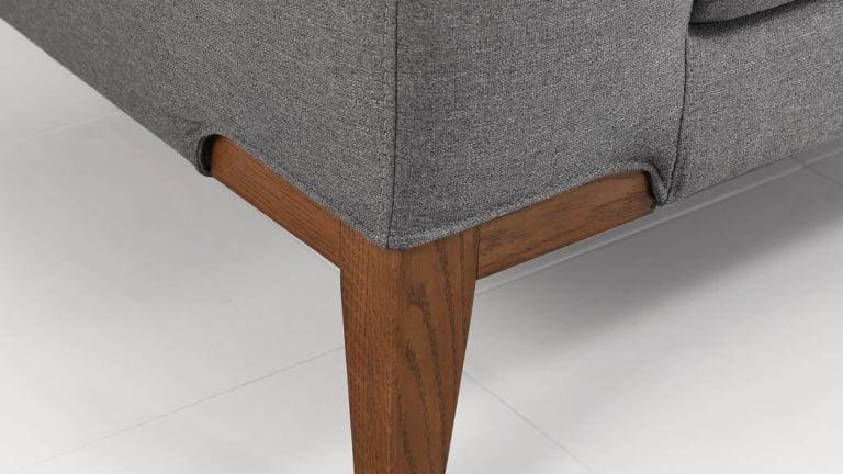Canapé en angle tissu gris avec finition bois - SUN