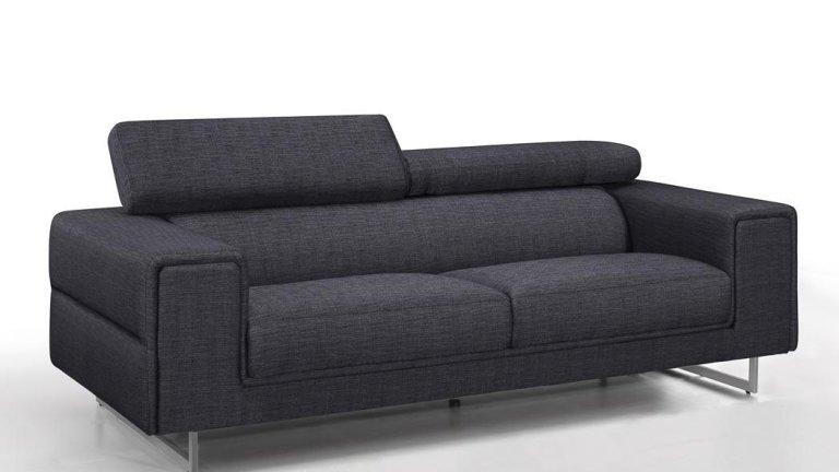 Canapé moderne 3 places en tissu Gris foncé avec tétières - STREET 3