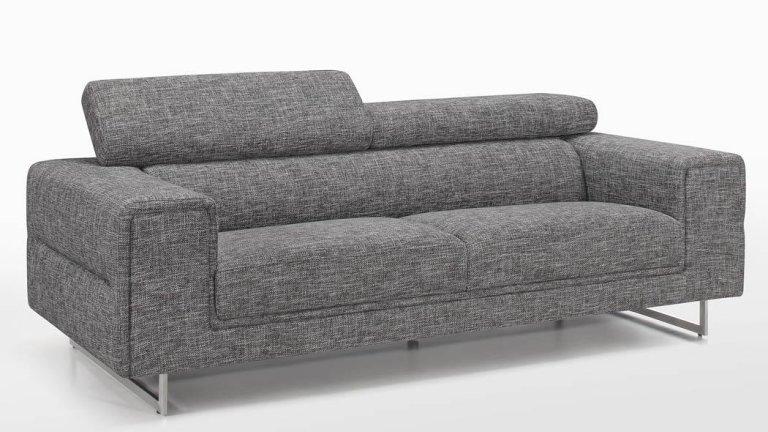 Canapé moderne 3 places en tissu Gris Chiné avec tétières - STREET 3