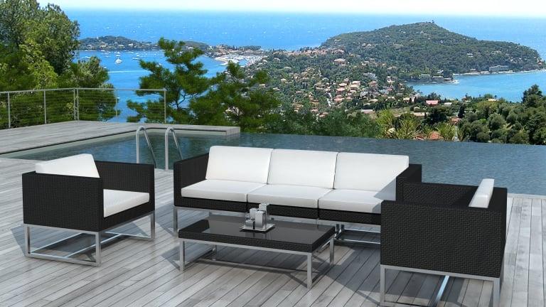 Salon de jardin au design contemporain Acapulco en résine tressée ...