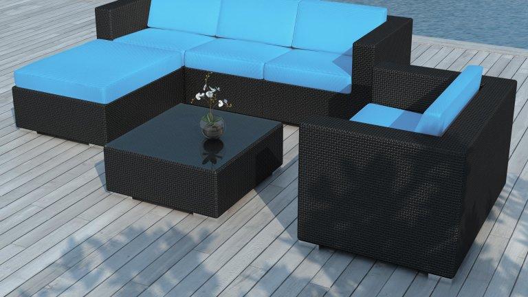Salon de jardin resine tressée Noire/Bleu - COPACABANA