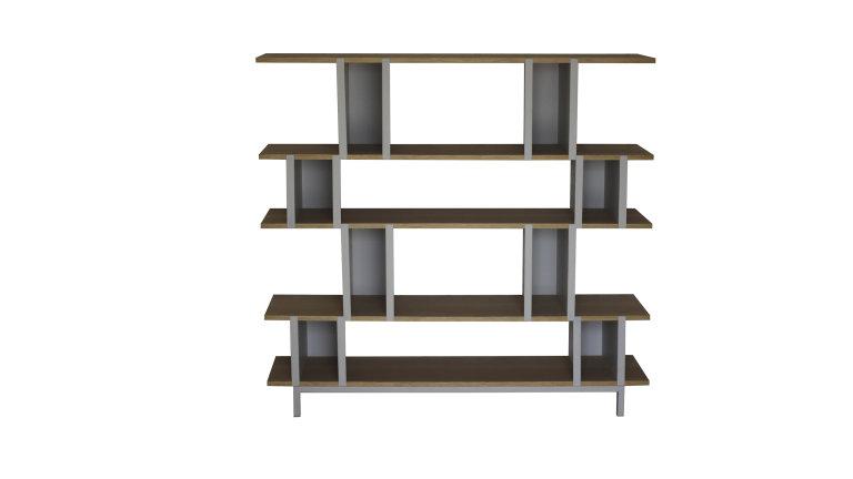 Biblioth que tag re design 5 niveaux en m tal et bois - Bibliotheque bois metal ...