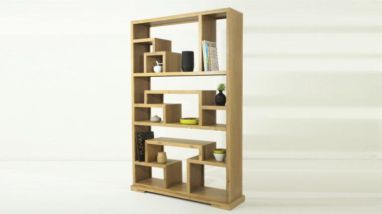 biblioth que tag re design en teck massif naturel. Black Bedroom Furniture Sets. Home Design Ideas