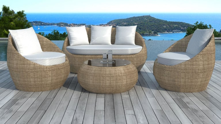 salon de jardin en r sine tress e ronde rotin malaga. Black Bedroom Furniture Sets. Home Design Ideas