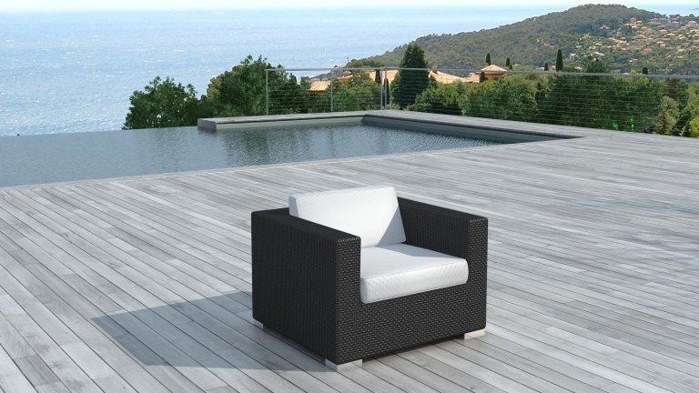 fauteuil seul mod le copacabana r sine tress e structure aluminum coussin blanc cru. Black Bedroom Furniture Sets. Home Design Ideas
