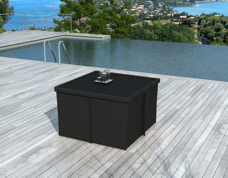 salon de jardin encastrable 8 places en r sine tress e noire puerto rico. Black Bedroom Furniture Sets. Home Design Ideas