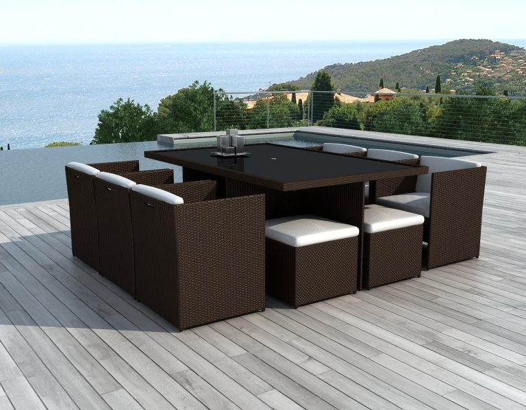 salon de jardin encastrable 10 places en r sine tress e chocolat canc n. Black Bedroom Furniture Sets. Home Design Ideas