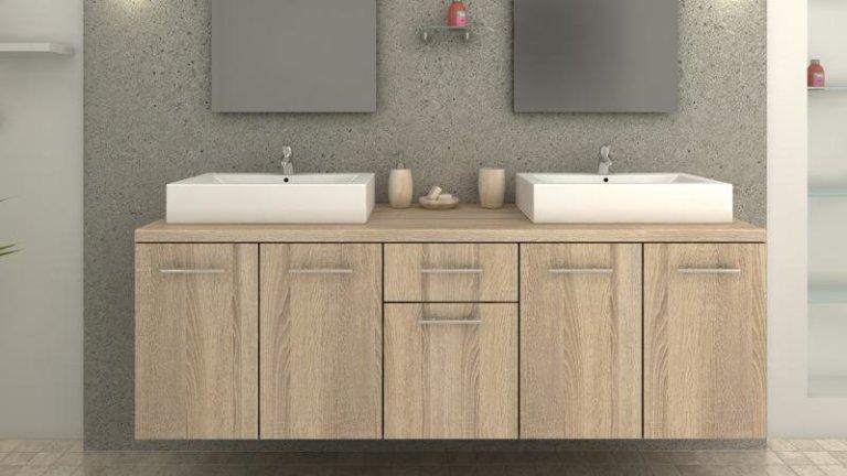 meuble de salle de bain double vasque rectangulaire ch ne naturel. Black Bedroom Furniture Sets. Home Design Ideas