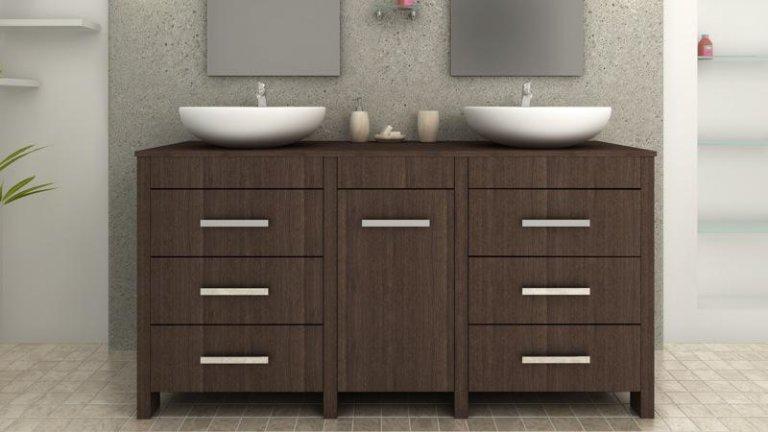 Meuble de salle de bain design wengé complet double ...