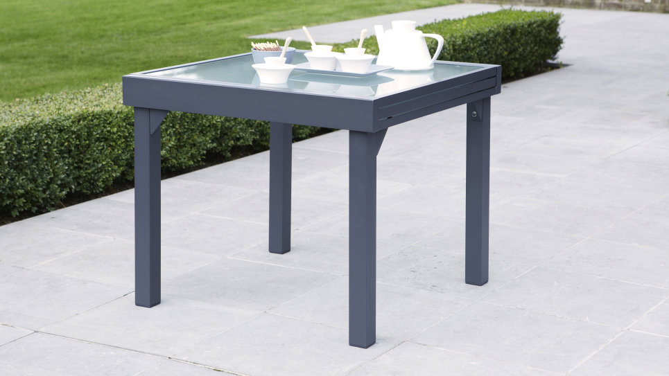 Table extensible 90/180 Gris anthracite - MODULO - Delorm Design