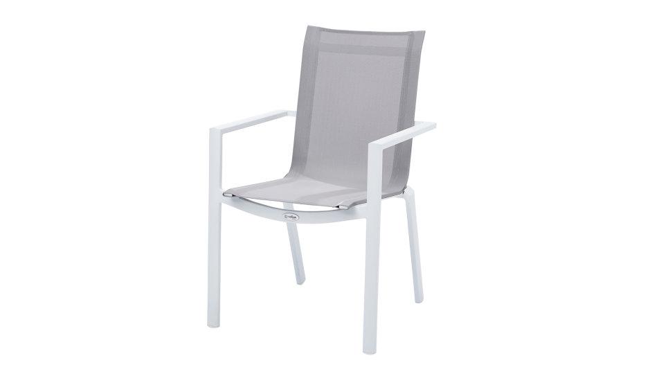 Fauteuil Textilène Blanc/Gris clair - TULUM WHITESTAR