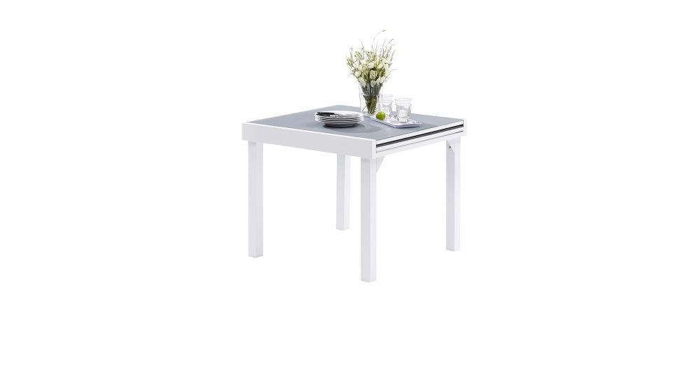 Salon de jardin 8 places Blanc/Gris perle - MODULO