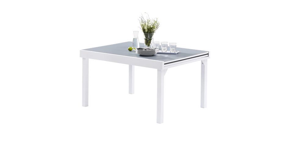 Salon de jardin 10 places Blanc/Gris perle - MODULO