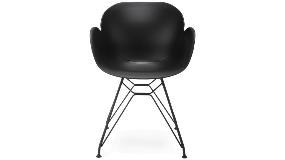 fauteuil scandinave noir pied mtal tulip - Chaise Scandinave Noir