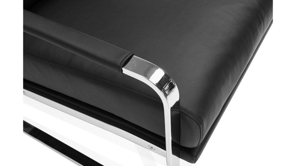 Fauteuil lounge en simili cuir noir - RAOUL