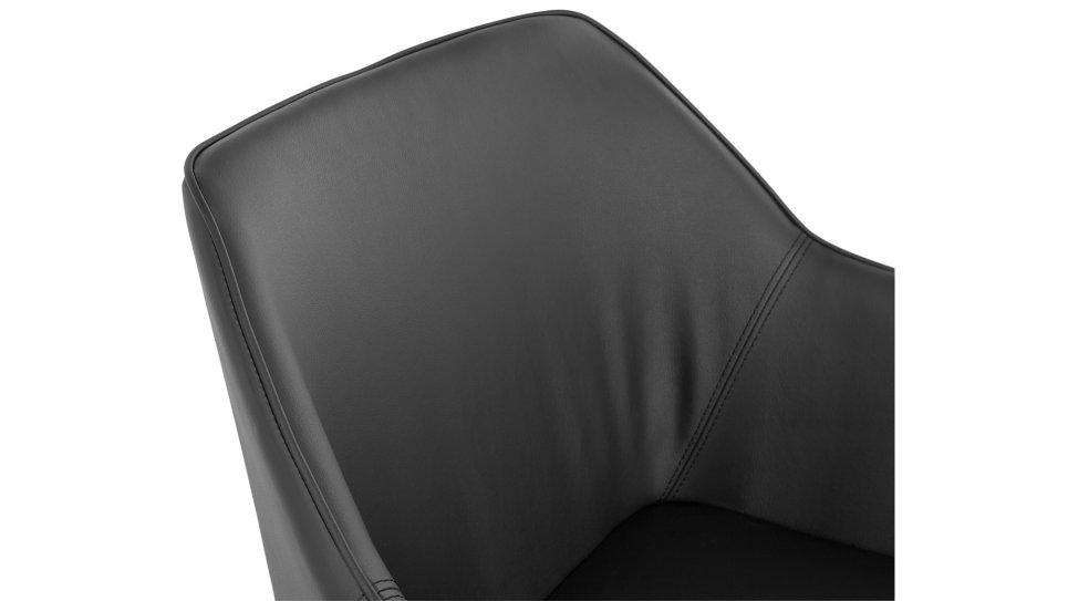 Fauteuil moderne en simili cuir noir - REEPA