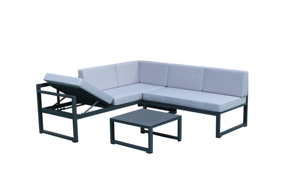 Salon de jardin 5 places Aluminium Gris - RELAX