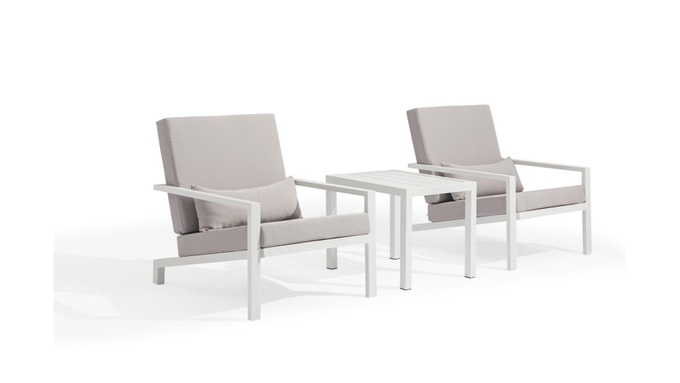 Salon de jardin duo Blanc/Gris - FUN