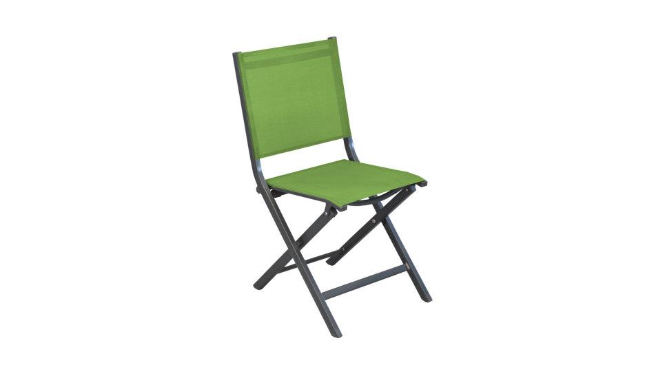 Chaise pliante Gris/Vert - THEMA
