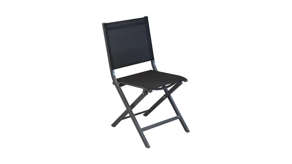 Chaise pliante Gris/Noir - THEMA