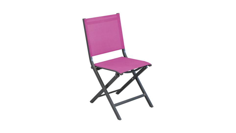 Chaise pliante Gris/Framboise - THEMA