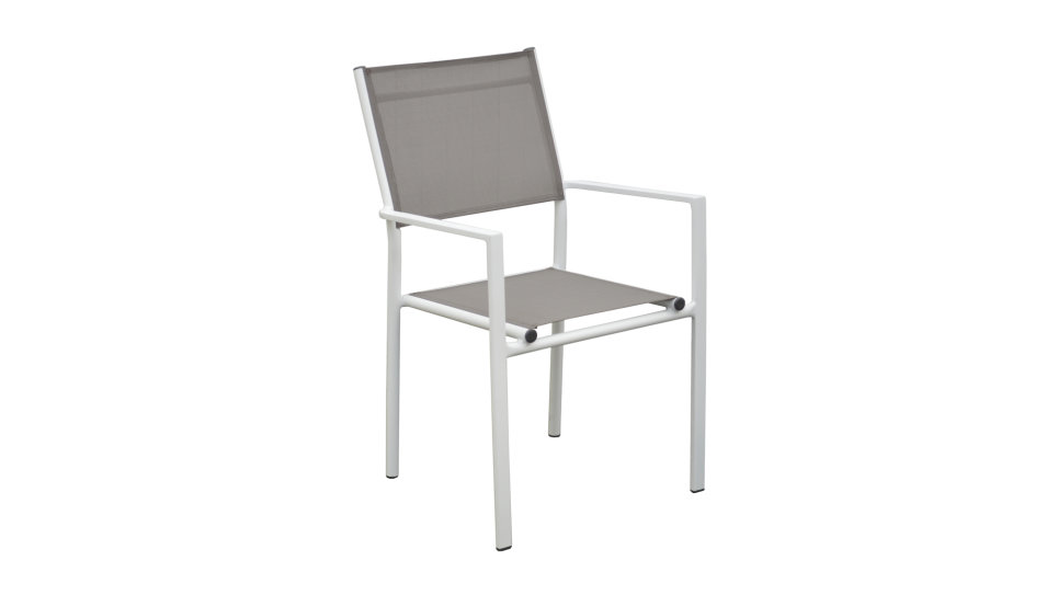 Fauteuil Blanc/Taupe - THEMA