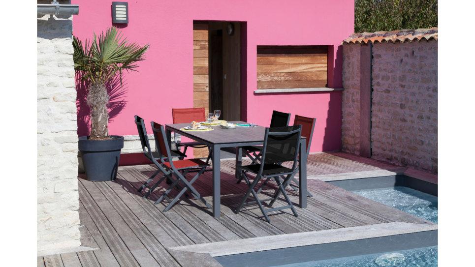 Table plateau Trespa 180 x 90 cm Gris/Brun - STONEO
