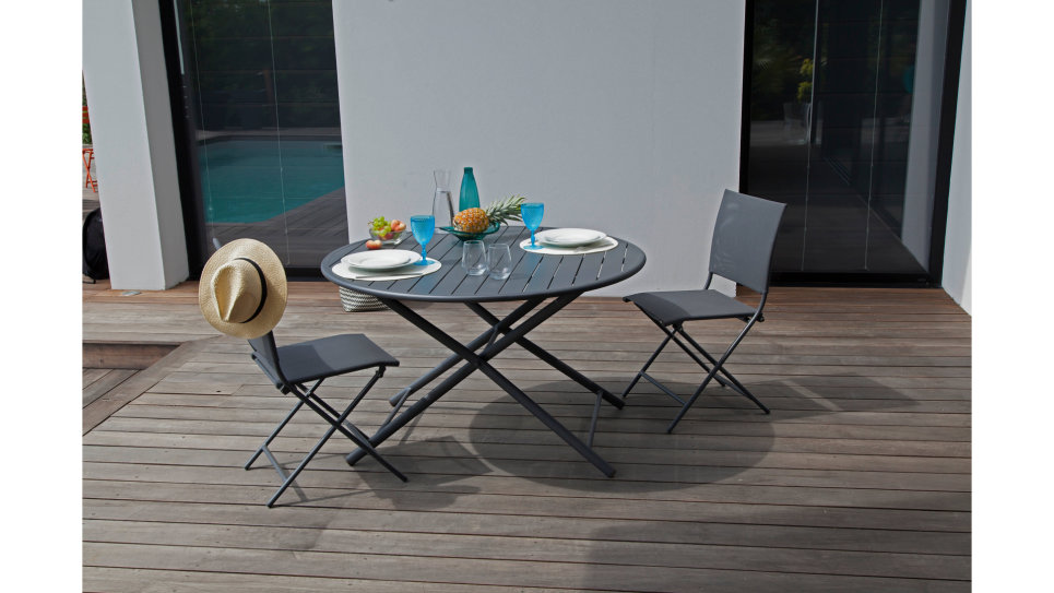 Table ronde pliante D 120 cm Taupe - GLOBE