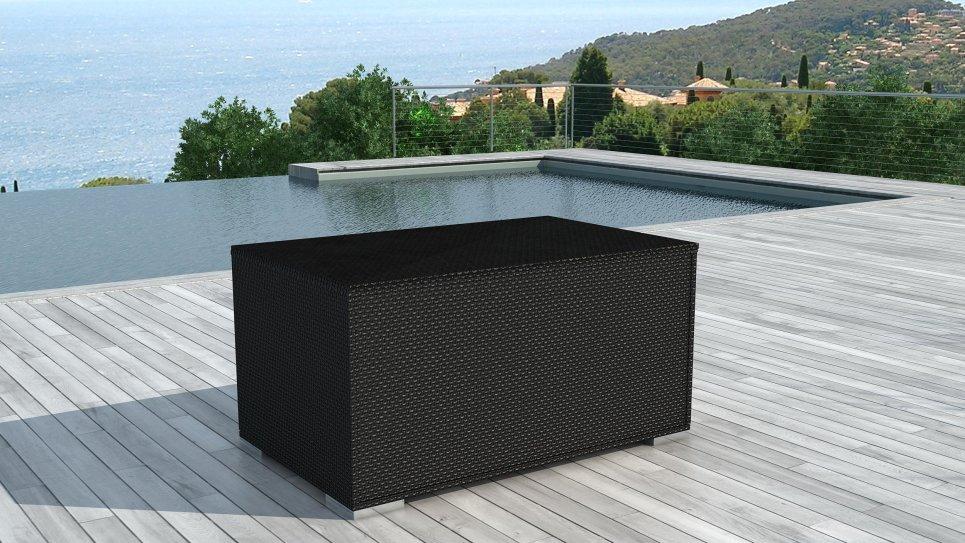 Coffre de rangement en résine tressée Noire - BOX